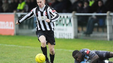 Danny Beaumont scored in the fifth minute for Dereham Town at Burnham Ramblers. Picture: Ian Burt