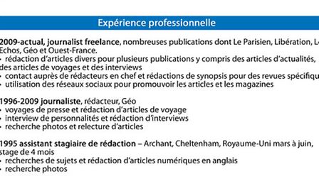 Work experience section of a French CV © Archant