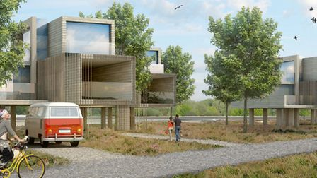 AFTER: Futuristic homes on stilts living accommodation, in the architects view of the development. P