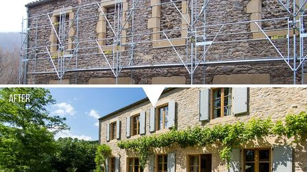A door and windows were added to the property's facade and the cement render was removed