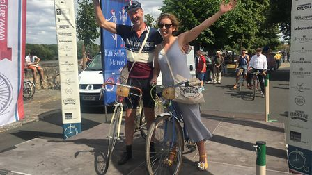 Catriona at the finish line of the Anjou Velo Vintage