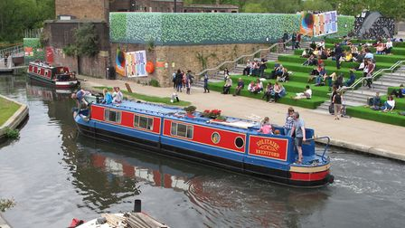 The redeveloped canalside behind St Pancras is popular with visitors (photo: Derek Pratt)