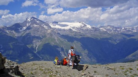 A family enjoys the view of the glaciers from Mont Froid (c) Andy Hodges