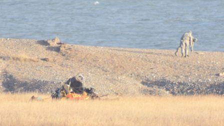The scene at Cley next the Sea after an American military helicopter crashed and another landed afte