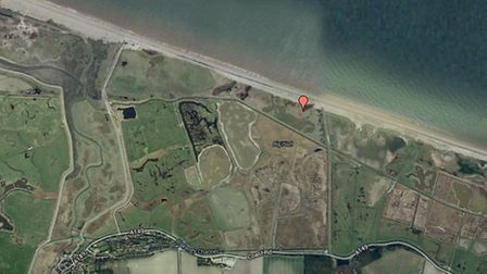 The location of the helicopter crash (red pin) at Cley. Picture: Google Map