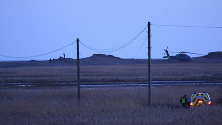 The helicopter crash scene at first light on Wednesday morning. Picture: Sarah Whittley