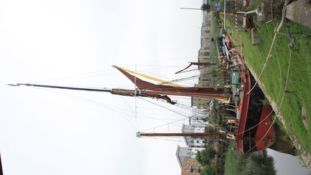 Sailing Barge Decima, which spent the whole winter in the Crayford Creek above the lock (photo: Mart