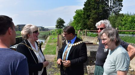 The mayor and mayoress visit the lock during the first Dartford Nautical Festival in late May (photo