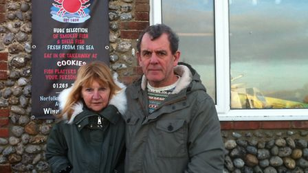 Cley helicopter crash eyewitnesses Sue and Peter McKnespiey.