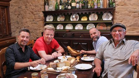 Gino D'Acampo, Gordon Ramsay and Fred Sirieix taste cheeses with Jean Claude, owner of an award-winn