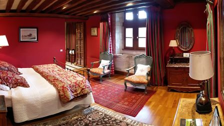 One of the guest rooms at Le Vieux Chateau Le Renouard