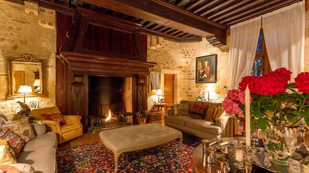 An exquisitely decorated living room at Le Vieux Chateau Le Renouard (c) Ed Dabney Photography