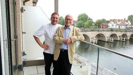 Alain and Michel Roux on the terrace of Roux at Skindles