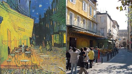 Cafe Terrace in Arles - then and now. Arles pic: Alan Ford.