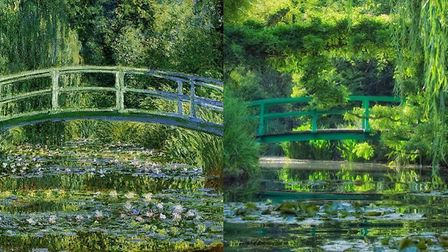 Monet's beautiful garden, then and now. Pic: Fondation Claude Monet, Giverny