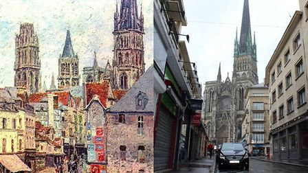 The Rue de l'Epicerie in Rouen, then and now. Photo: Tiger Rus, CC By 3.0