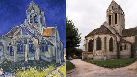 Auvers church, then and now. Pic: Ignis, CC BY-SA 3.0