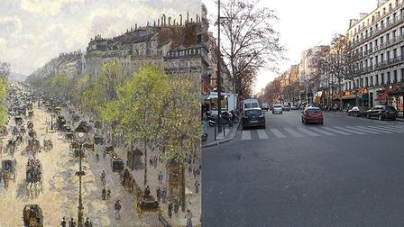 Boulevard Montmartre, then and now. Photo: tangopaso