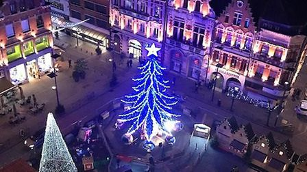 Bethune Christmas market and rooftops as seen from le beffroi. Pic: Steve Mather