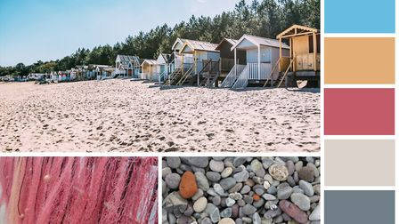 A seaside concept, or mood board, created by Sharon North