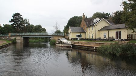 Moorings at the village of Hilgay on the River Wissey, the northernmost of the Great Ouse tributarie