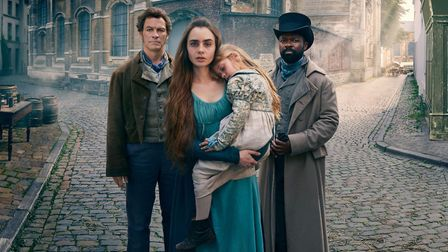 Jean Valjean (Dominic West), Fantine (Lily Collins) and Javert (David Oyelowo) in Les Misérables (C)