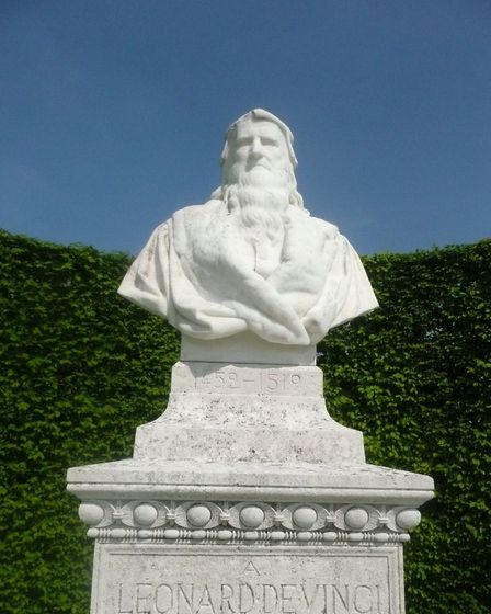 A marble bust of Leonardo da Vinci near his burial place in the chapel of Saint-Hubert. Pic: M Metay