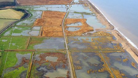 The Cley and Salthouse marshes seen from the air after last month's floods. Photo: Mike Page