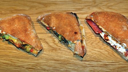 From the left: spicy beef fajita mix with peppers, gouda cheese, American mustard, chilli and spring