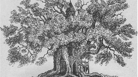 An engraving of the Chêne-Chapelle by artist Eustache Hyacinthe Langlois
