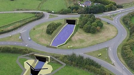 An impression of how the reinstated canal will cross the A38/A419 roundabout (SDC)