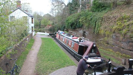Debdale Lock, with 'cavern' just visible behind the boat (photo: Martin Ludgate)