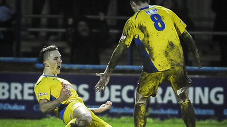 Action from King's Lynn Town v Ilkeston at The Walks - Charley Sanders celebrates his first goal for