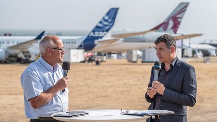 Chris (right) reporting on the first Airbus BelugaXL flight (c) Frederic Lancelot/ Master Films / Ai