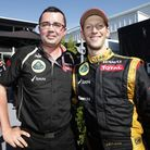 Lotus team principal Eric Boullier, left with Romain Grosjean, has quit his job at the team and is e