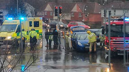 Accident at the ring road junction of Long John Hill and Barrett Road. Picture: Cut Lakenham Acciden