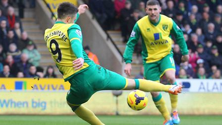 Ricky Van Wolfswinkel of Norwich has a shot on goal during the 1-0 win against Hull City at Carrow R