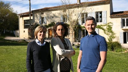 Joss Tucker, Alex Polizzi and Mike Tucker outside their home in Gaudiès (c) Twofour/Channel 5