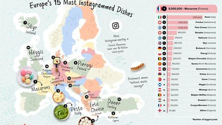 A map of the 15 most Instagrammed foods in Europe © Gousto