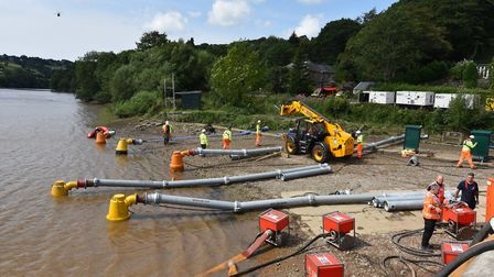 Large capacity pumps get to work lowering the water level at Toddbrook (photo: CRT)