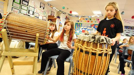 Catton Grove Primary School year six pupils perform in a drumming workshop to prepare for taking par