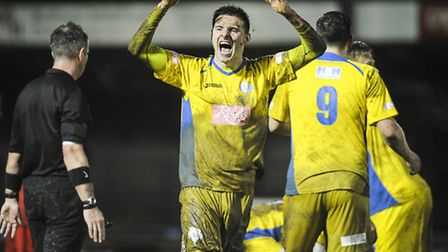 Action from King's Lynn Town v Ilkeston at The Walks - Dan Quigley celebrates Lynn's second. Picture