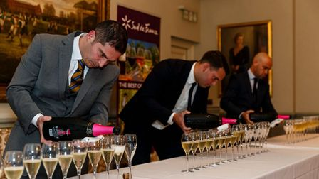 The final challenge involved pouring equal measures of a magnum of Limoux into 16 glasses