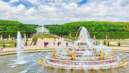 Versailles, France - July 2, 2016: Latona Fountain Pool, opposite the main building of the Palace of