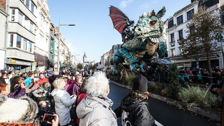The Dragon paraded through the streets of Calais (c) Angelique Lyleire/Compagnie du Dragon