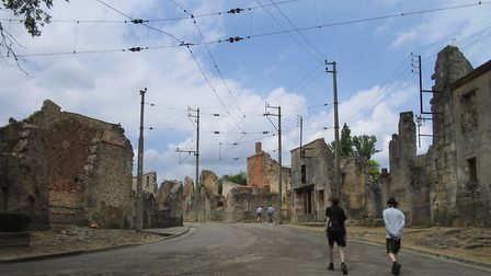 The main street of Oradour, with its tramline that once ran to Limoges. Pic: Dna-Dennis/Wikimedia