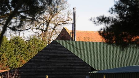 The biomass boiler flue at the centre of the planning dispute near Aylsham. PHOTO: ANTONY KELLY