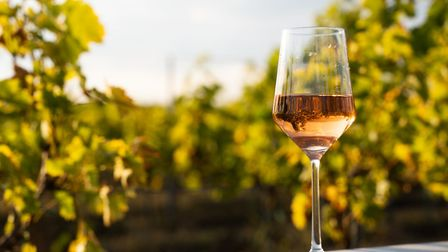Glass of rose wine on a vineyard table (c) flyparade/Getty Images