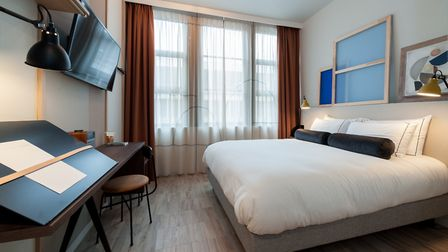 One of the bright bedrooms at Le Grand Quartier, Paris