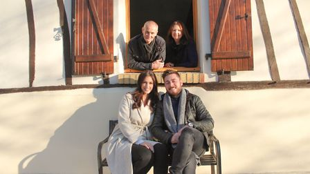 Louise Russell and Ben Hales, front, with Louise's parents Kevin and Jill behind